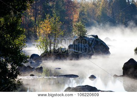 Misty morning by the lake in autumn
