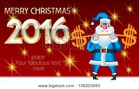 Vector  Merry Christmas greeting card with sporty Santa Claus weightlifter with dollar sign and elegant text. With place for your fabulous greeting text
