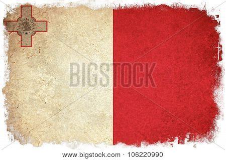 Malte Grunge Flag Illustration Of European Country