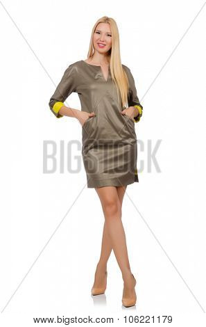 Blondie in gray satin dress isolated on white