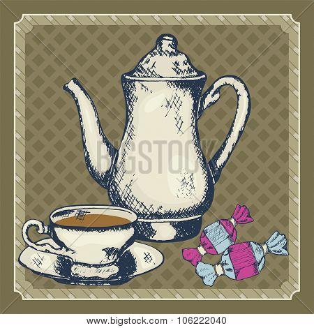 sketches tea pot