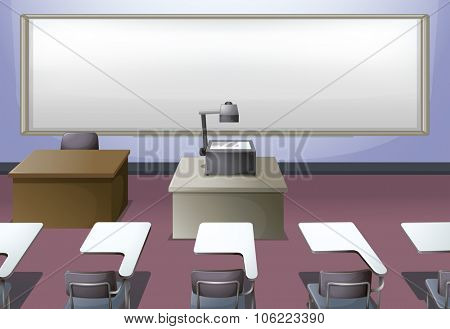 Classroom with projector and desks illustration