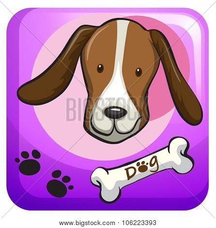 Dog head on the badge illustration