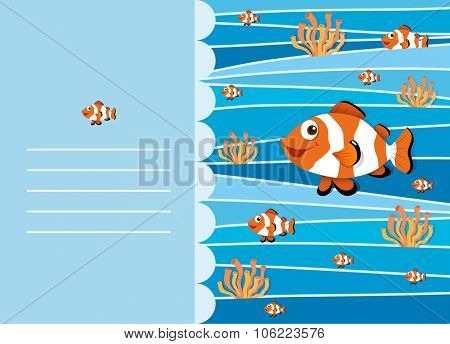Paper design with clownfish swimming illustration