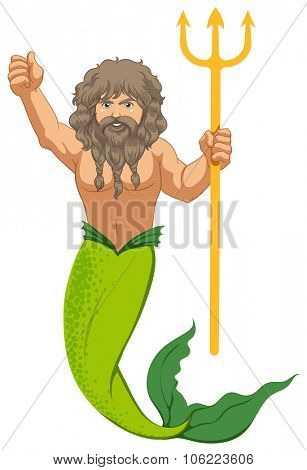 Male mermaid with the trident illustration
