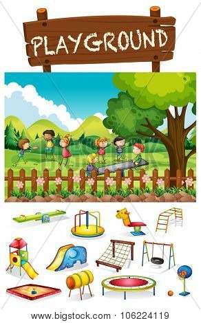 Playground scene with children and toys illustration