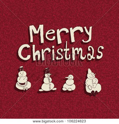 Four Snowman. Vintage Christmas Card.