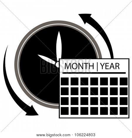 An image of a clock calendar  icon.