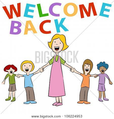 An image of a teacher and her students holding hands with a welcome back sign.