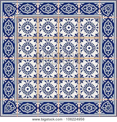 Gorgeous seamless  pattern from tiles and border. Moroccan, Portuguese, Azulejo ornaments. Can be us