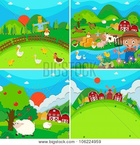 Countryside scene with farmer and animals illustration