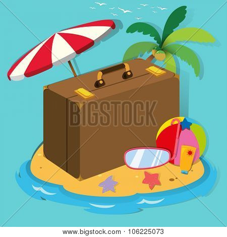 Travel objects on the island illustration