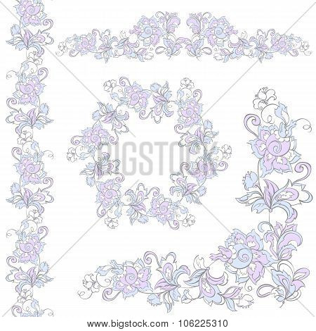 Floral design elements set. Can use for birthday card wedding invitations or page decoration.