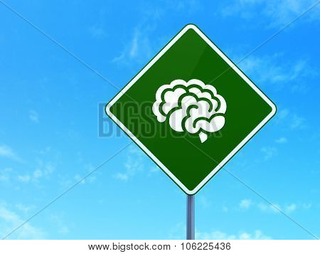 Science concept: Brain on road sign background