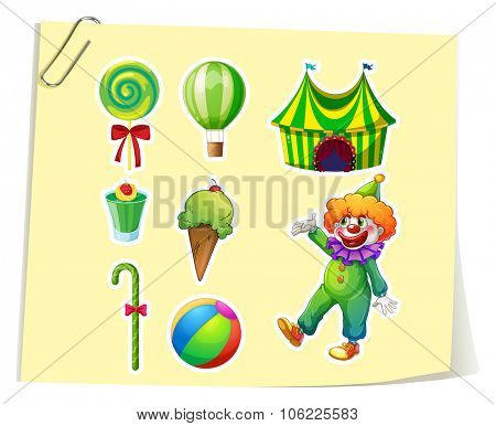 Clown and circus objects illustration