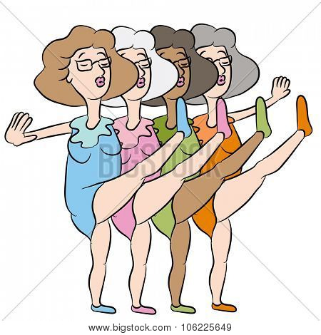 An image of dancing senior women kicking legs up in the air.
