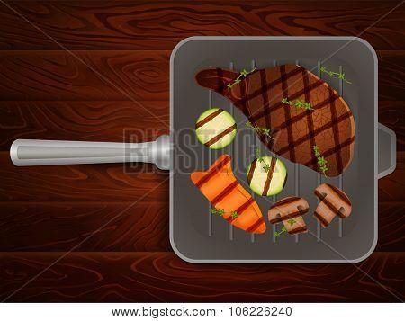 Grilling Pan Meat Steaks Thyme Vegetables Wood 1