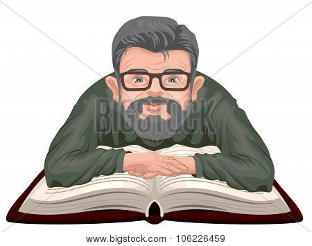 Grandfather reading book. Old man in glasses placed his hands on an open book