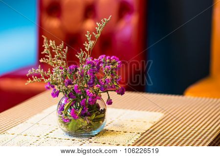 Flowerpot On Outdoor Table Cafe