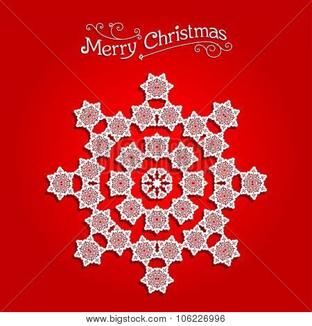 Festive snowflake on red background. Festive snowflake. Christmas design for card, banner, invitation, leaflet and so on.