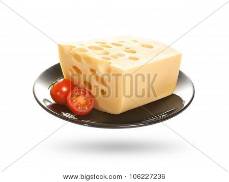 Cheese isolated on a white background.