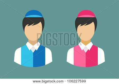 Shop seller face silhouette. Food restaurant worker vector. Human market seller vector illustration. Vector vender man abstract face isolated. Vendor, seller, shop worker, shief face. Delivery man