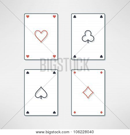 Vector set of playing cards ace icons in clean and light flat design