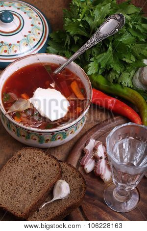 Borsch With Sour Cream, Vodka And Salty Fat With A Meat Layer