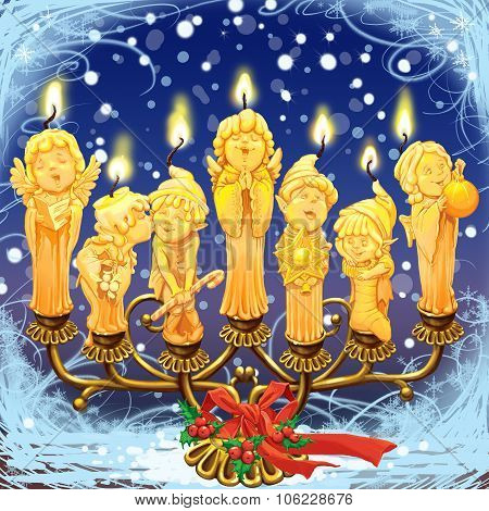 Seven Magical Christmas Candle In A Candlestick.