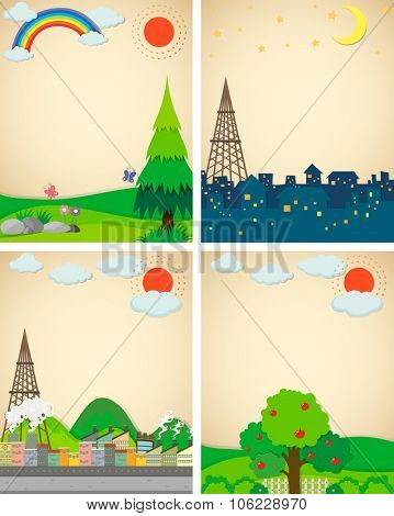 Scenes from city and countryside illustration