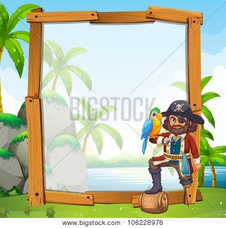 Border design with parrot and pirate illustration