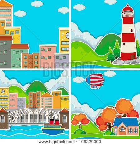 Scenes from city and rural area illustration