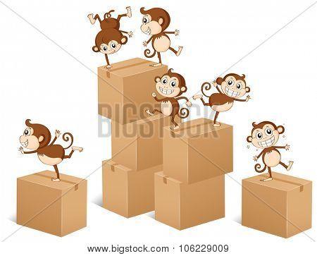 Monkeys climbing up the boxes illustration