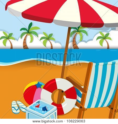 Chair and umbrella on the beach illustration