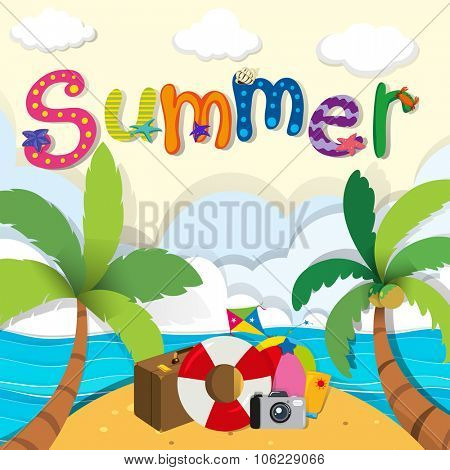Summer theme with beach objects illustration