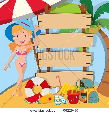 Girl in bikini standing by the signs illustration