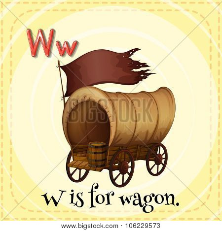 Flashcard alphabet W is for wagon illustration