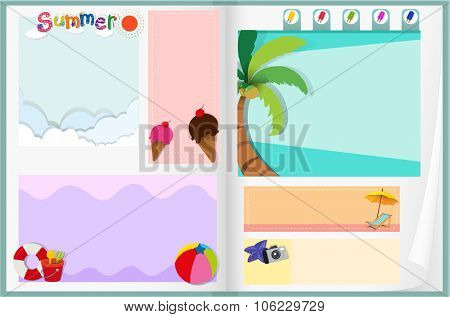 Paper design with summer theme illustration