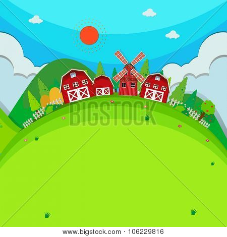 Farm land with barns and windmill illustration