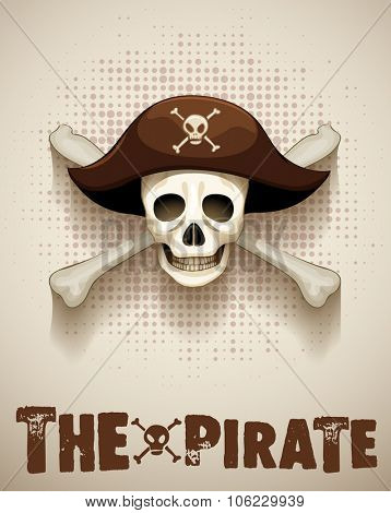 Pirate theme with pirate skull illustration