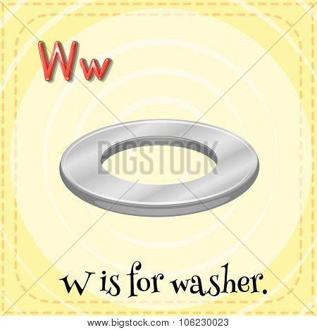 Flashcard letter W is for washer illustration