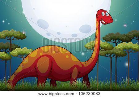 Dinosaur in the field at night illustration