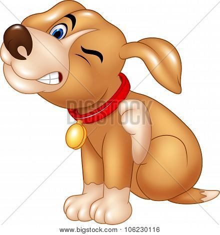 Cartoon dog scratching an itch
