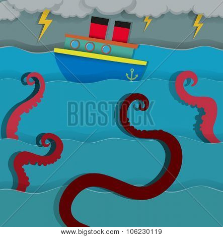 Sea monster attacking fighing boat illustration