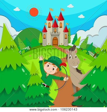 Castle scene with hunter and horse illustration