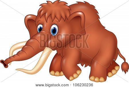 Cute mammoth cartoon isolated on white background