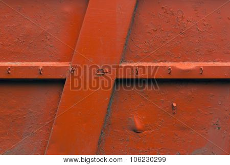 Orange Metal Wall Texture.