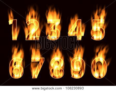 Fire font. Numbers in the fire. Alphabet with fire. Font on fire.
