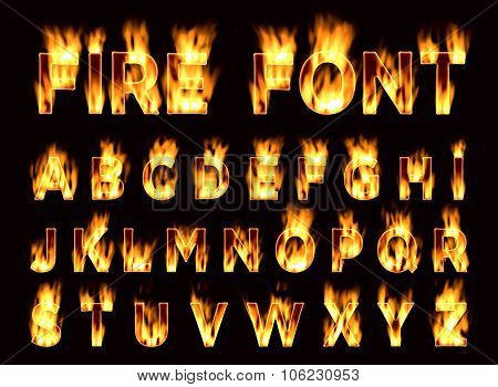 Fire font. Plum letters. Characters in the fire. Font on fire.