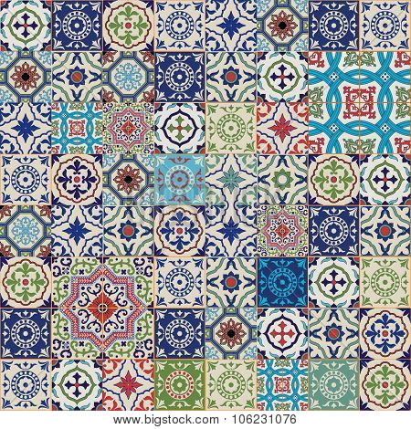 Mega Gorgeous seamless patchwork pattern from colorful Moroccan, Portuguese  tiles, Azulejo, ornamen